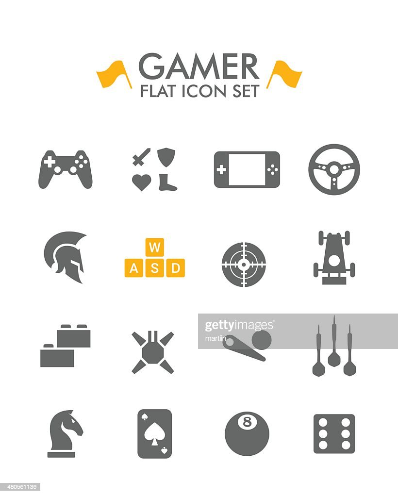 Vector Flat Icon Set - Gamer : Vector Art
