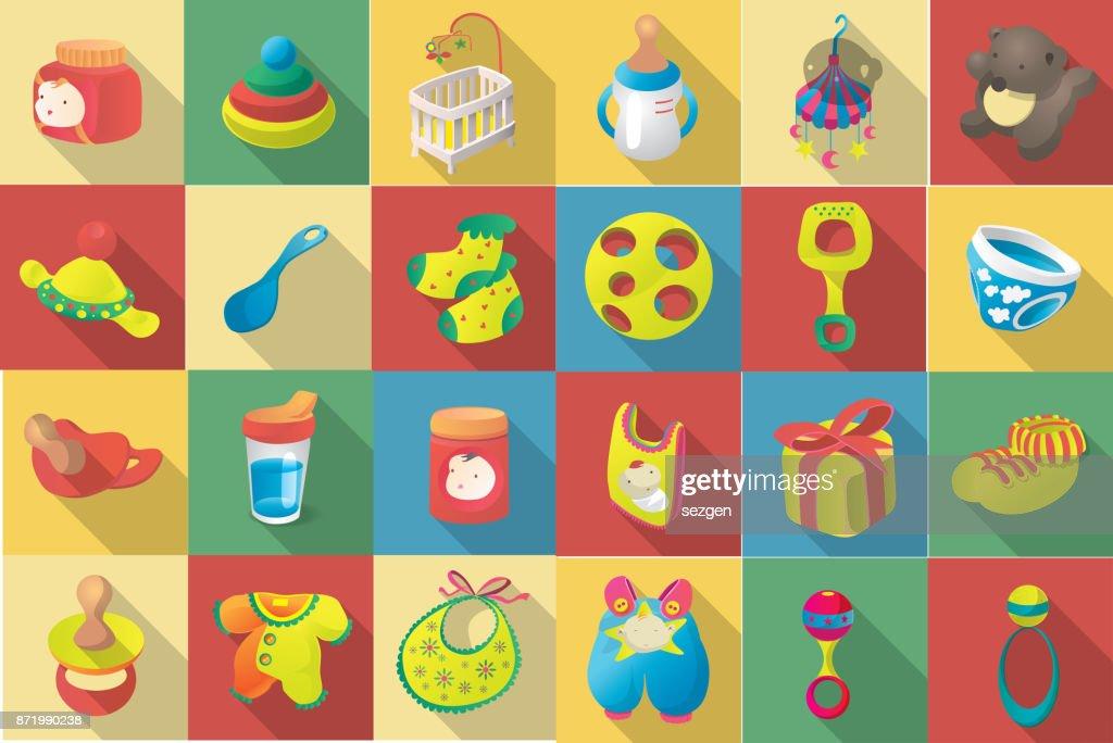 vector flat icon set of baby goodies