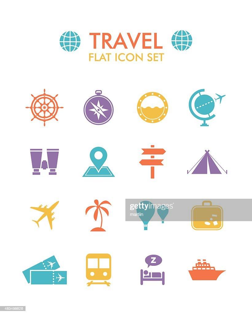 Vector Flat Icon Set - Travel