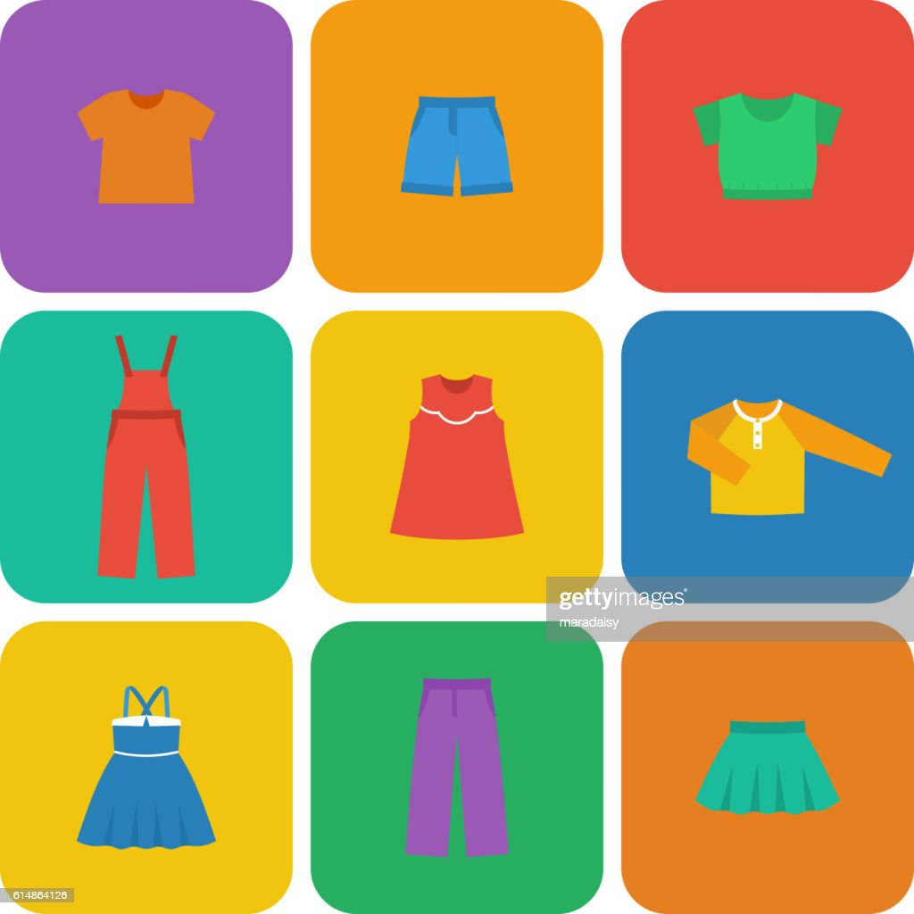Vector flat icons of baby clothes for girls.