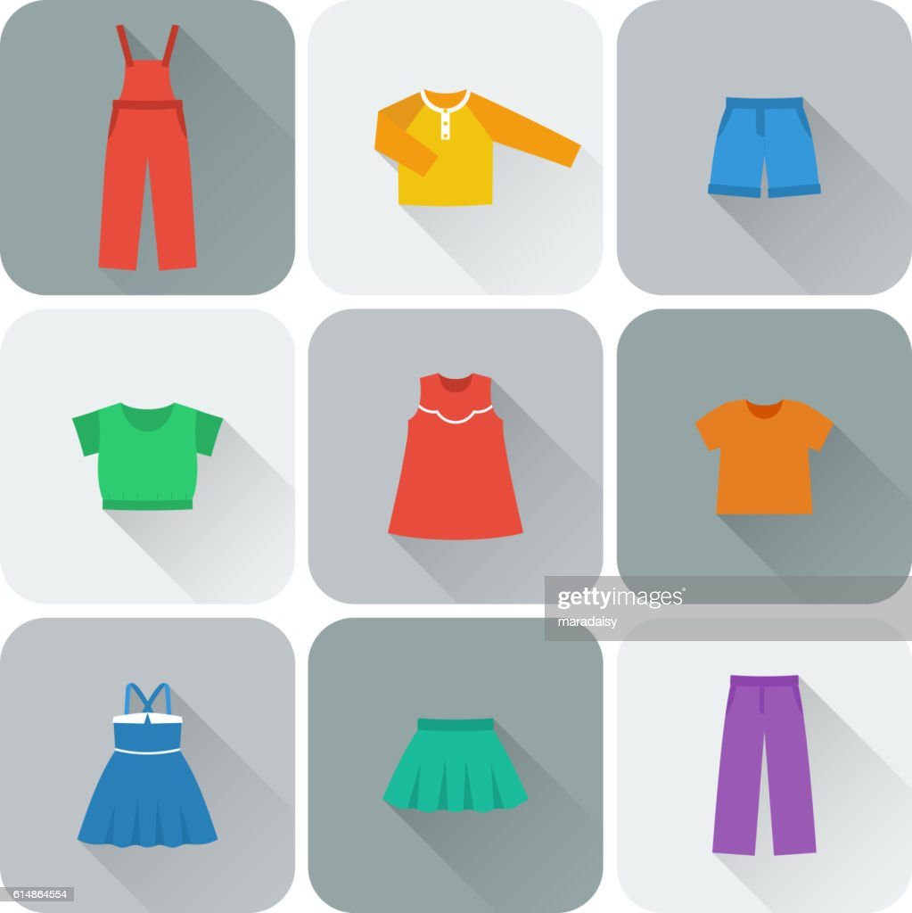 Vector flat icons of clothes for girls.
