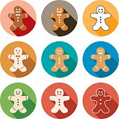 vector flat icons of gingerbread men