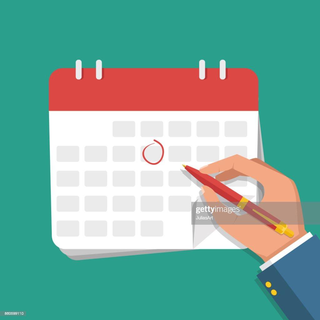 Vector flat illustration. Businessman hand with pen marks on the calendar.