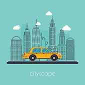 Vector flat illustration cityscape with downtown houses. Urban c