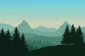 Vector flat illustration of a panoramic mountain landscape with a forest under the sky with dawn