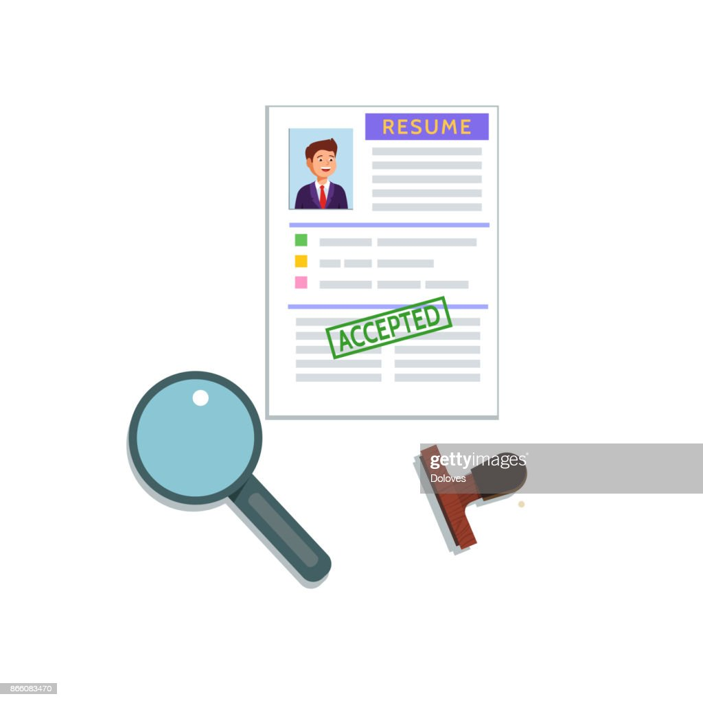 Vector flat illustration of a resume cv icon