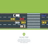 Vector flat illustration of city transport. Highway road, moving cars and taxi. Automobiles on the crosswalk, top view.