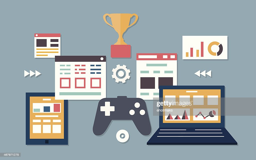 Vector flat illustration of gamification in business