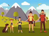 Vector flat illustration of happy family in the mountains
