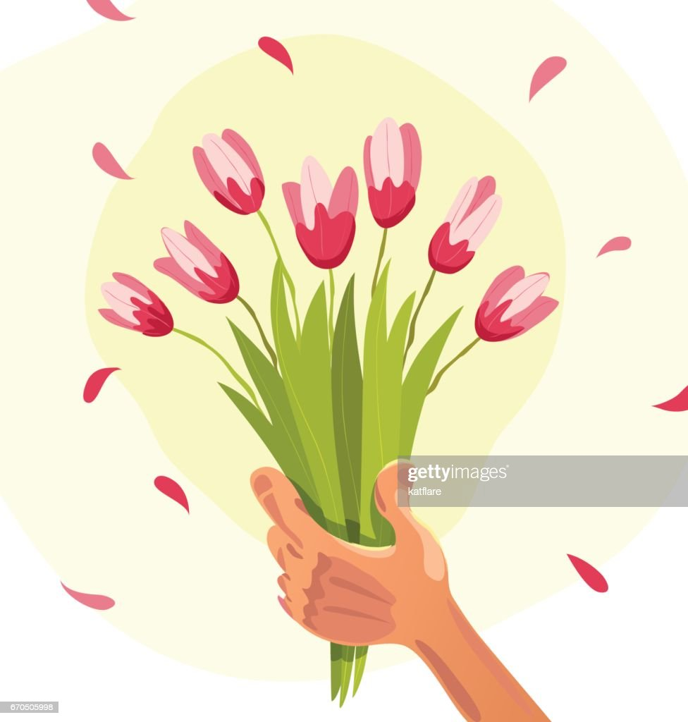 Vector Flat Illustration Of Human Hand Holding Bouquet Of Spring