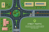 Vector flat illustration of roundabout road junction and city transport. City road, cars, crosswalk top view.