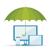 Vector flat illustration of umbrella, computer, tablet and telephone