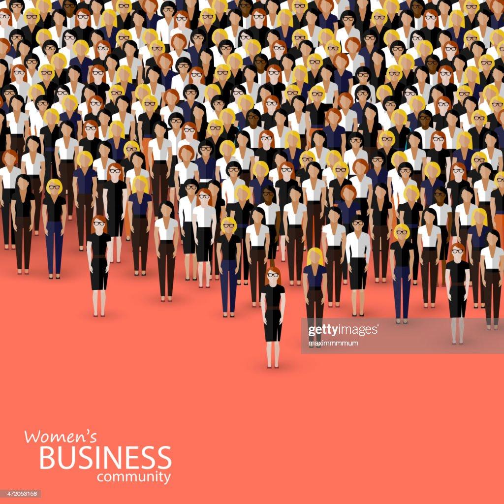 vector flat illustration of women business community.