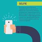 Vector flat illustration. Selfie infographic