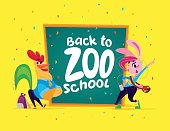 Vector flat illustration with funny cartoon animal student bunny girl and rooster boy standing at big chalkboard isolated on yellow background.