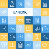 Vector Flat Line Art Modern Money Finance and Banking Icons