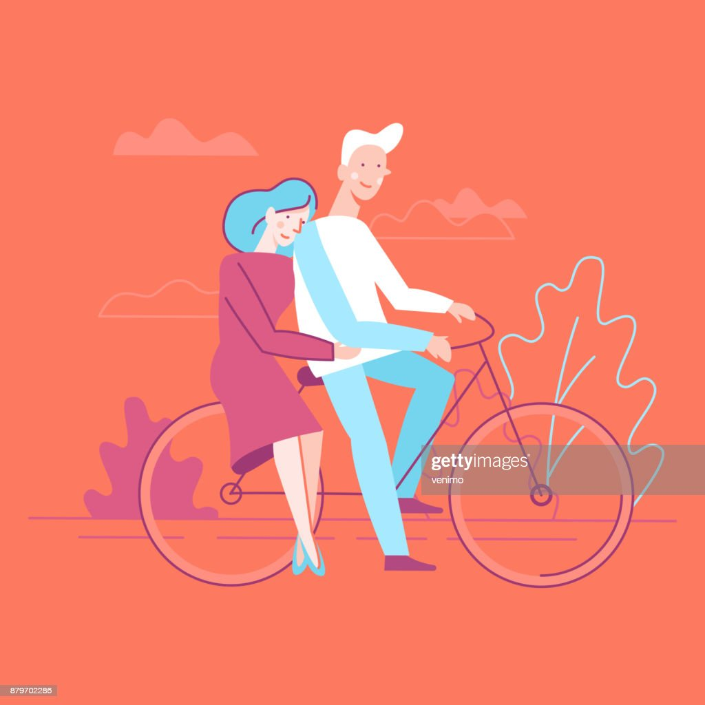 Vector flat linear illustration - happy couple in love
