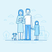 Vector flat linear illustration in blue colors - happy young family