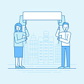 Vector flat linear illustration in blue colors - man and woman holding placard