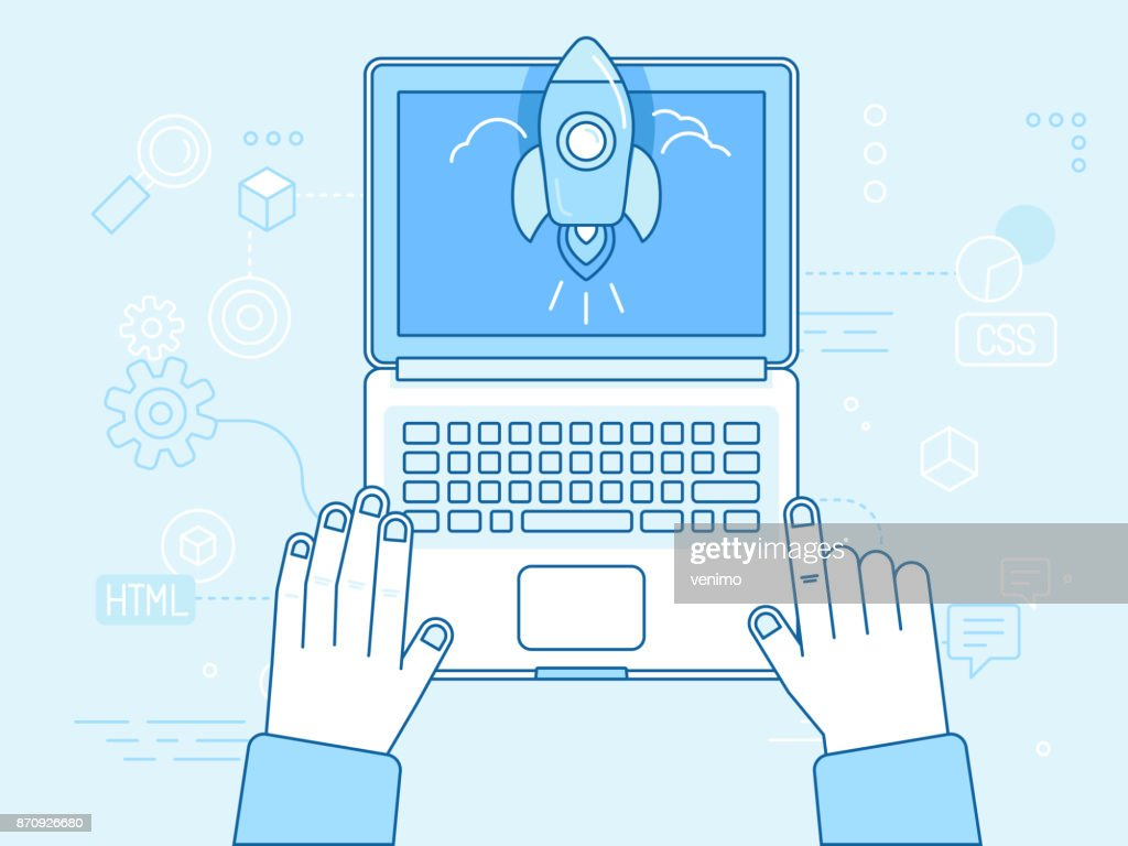Vector flat linear illustration in blue colors - startup concept