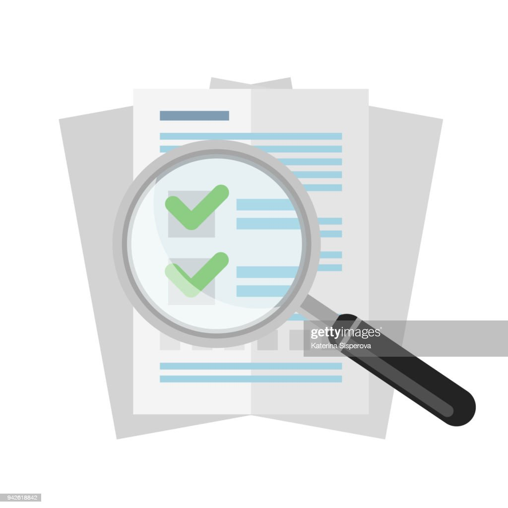Vector flat magnifier over business documents or agreements isolated on white background