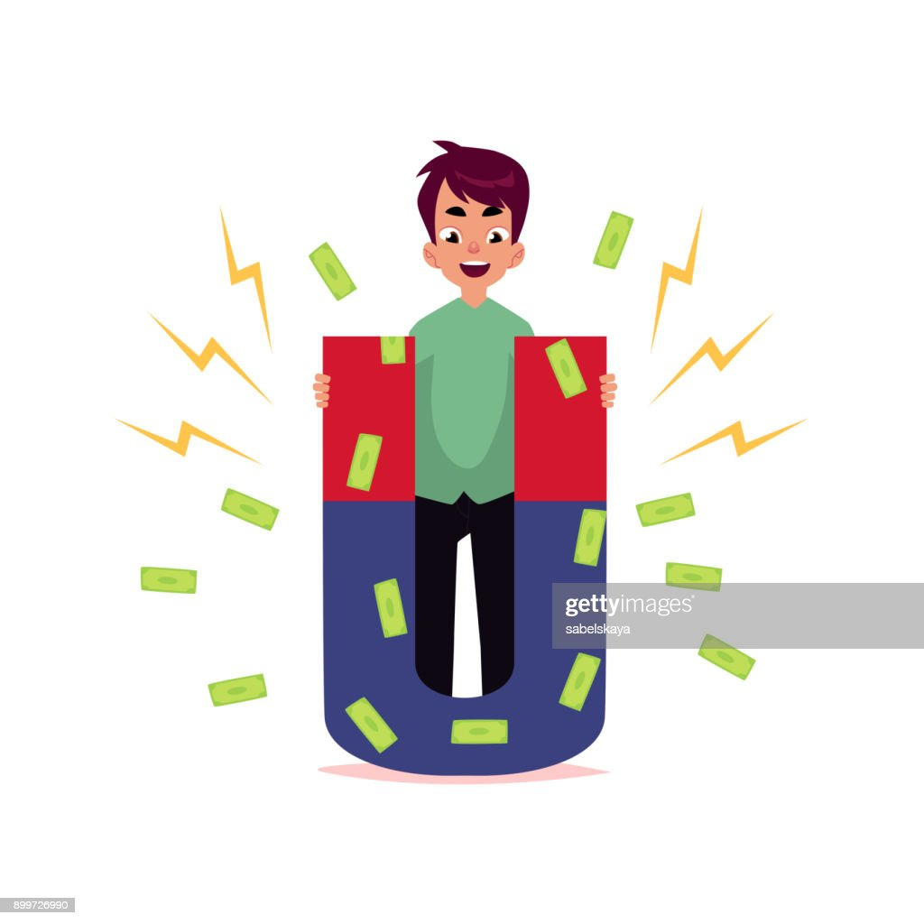 vector flat office man attracting money by magnet