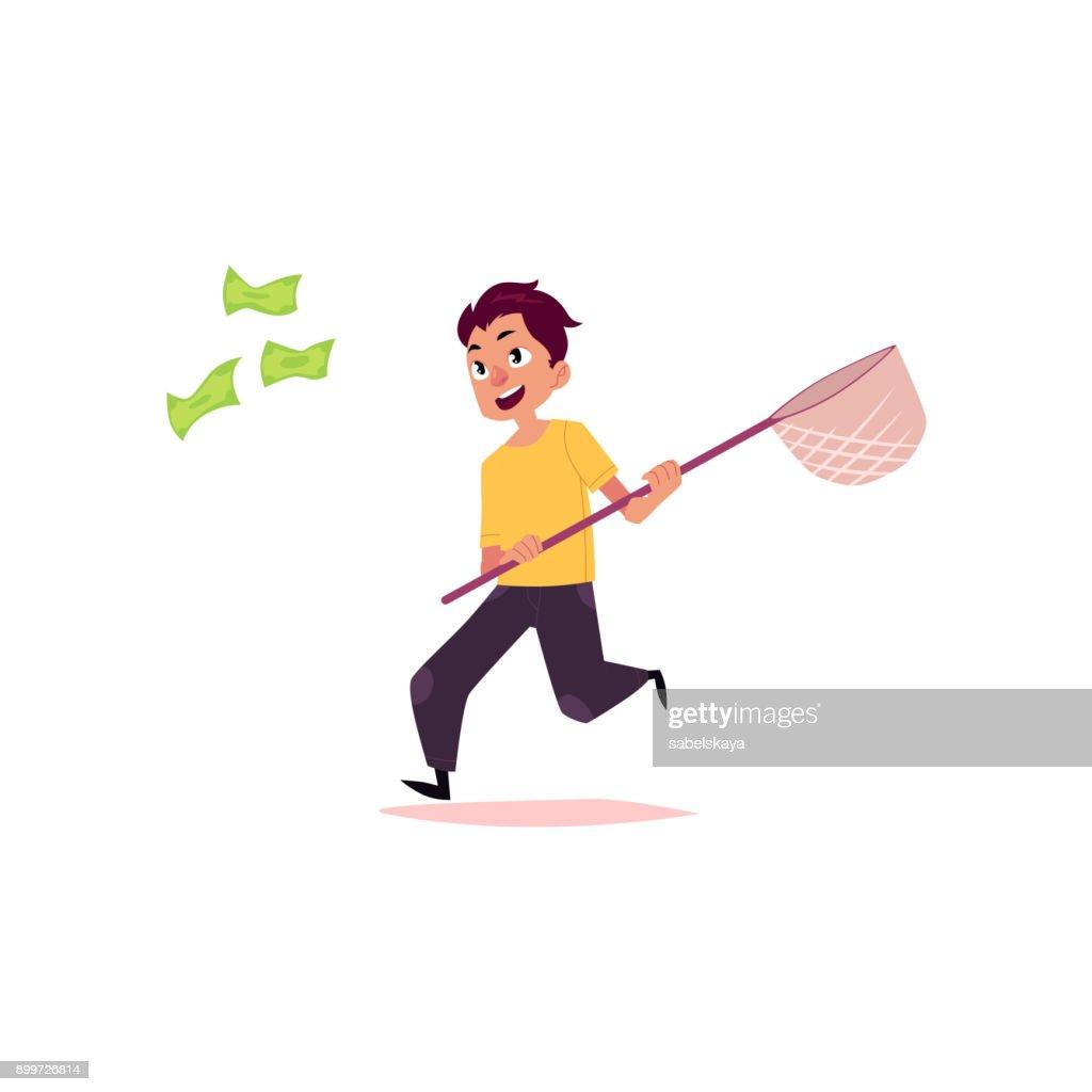 vector flat office worker man running for money