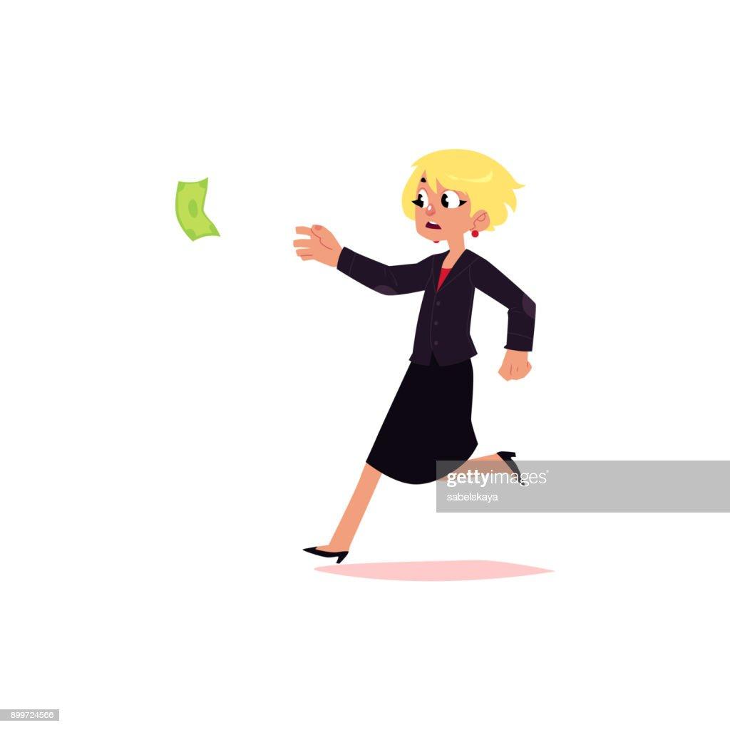 vector flat office worker woman running for money