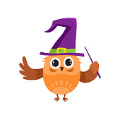 vector flat owl dancing witch, wizard pointed hat