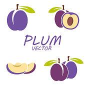Vector flat plum icons set
