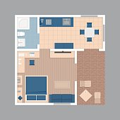 Vector flat projection apartment.Small house plan with furniture.