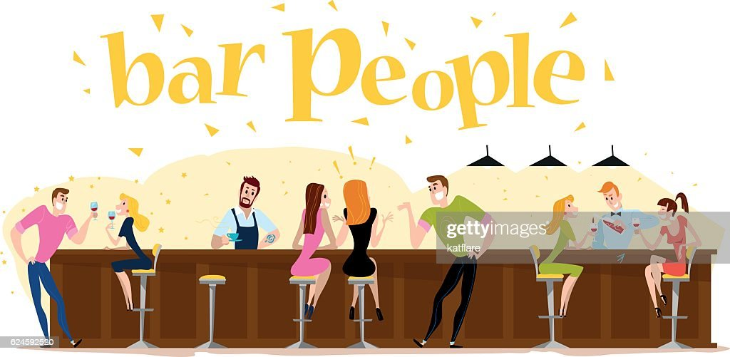 Vector flat restaurant people illustration.
