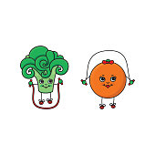 vector flat sketch fruits, vegetables doing sport