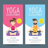 Vector flat style design template for yoga flyer.