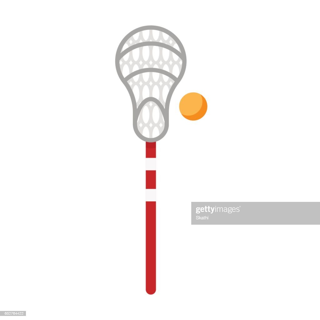 Vector flat style illustration of equipment for lacrosse game.