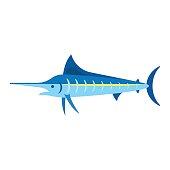 Vector flat style illustration of marlin