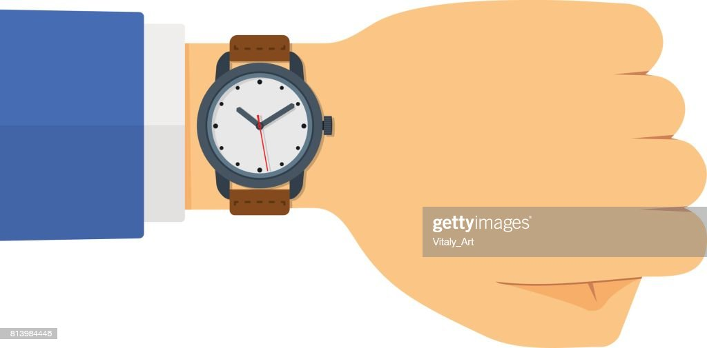 Vector Flat Style Illustration of Watch on the Hand