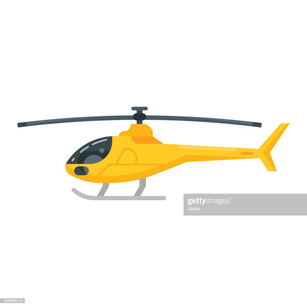 Vector flat style illustration of yellow helicopter.