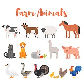 Vector flat style set of farm animals.