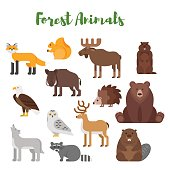 Vector flat style set of forest animals.