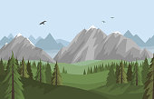 Vector flat summer landscape with beautiful mountains and forest