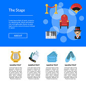 Vector flat theatre icons landing page template illustration