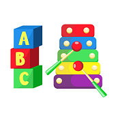 vector flat xylophone and cubics toys isolated