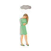 vector flat young woman suffering from depression