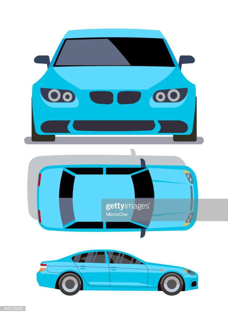 Vector flat-style cars in different views. Blue sedan