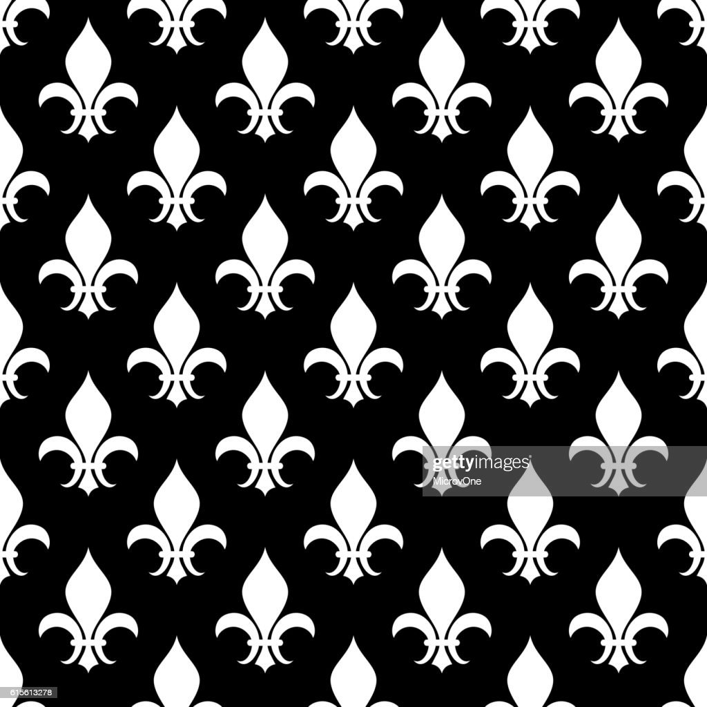 Vector fleur de lis seamless pattern in black and white