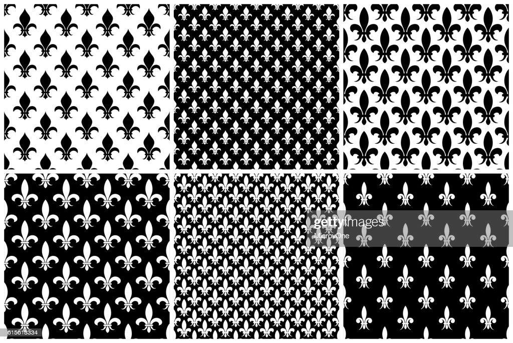 Vector fleur de lis seamless patterns set in black and