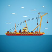 Vector floating marine crane in flat style