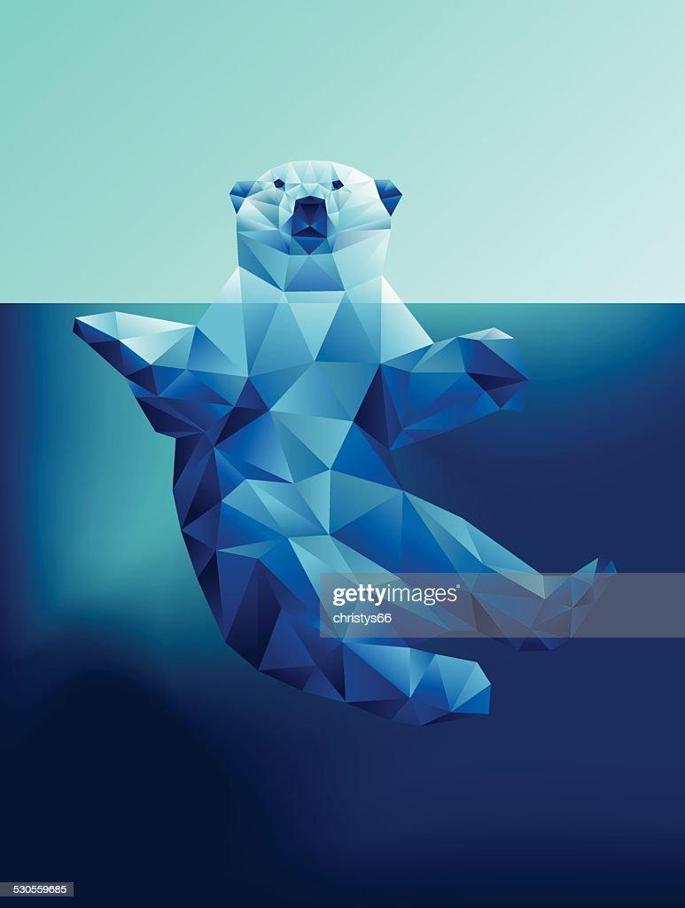 Illustration de l'ours polaire flottant dans les eaux bleues Polygone géométrique : Illustration