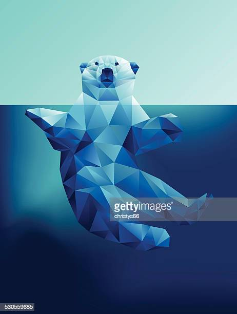 vector floating polar bear in blue waters polygon geometric - animal stock illustrations
